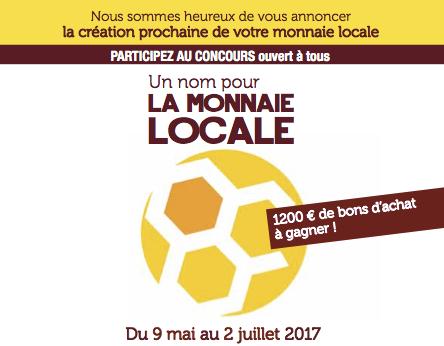 Annonce du concours du nom dela monnaie locale de Rueil