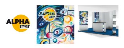 Pour Alpha Taxis : Réalisation d'une œuvre unique mettant en scène le logo d'une grande compagnie de taxis parisien. Le tableau a été décliné notamment pour personnaliser un stand lors d'un événement. Isabelle Delacre – Acrylique sur toile – Tous droits réservés