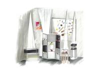 Dessin d'illustration Isabelle Delacre pour Les Pieds Sur La Table : stand au salon professionnel Maison&Objet