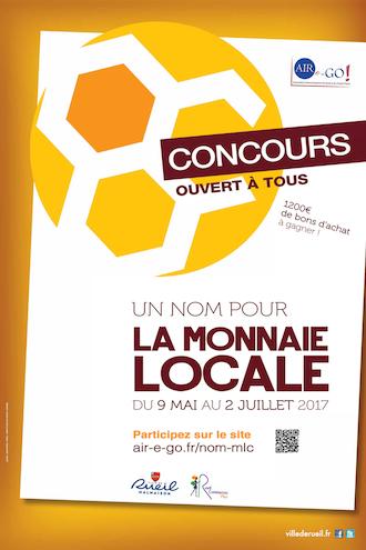 Affiche du concours pour le nom de la monnaie locale de Rueill-Malmaisonde la monnaie locale