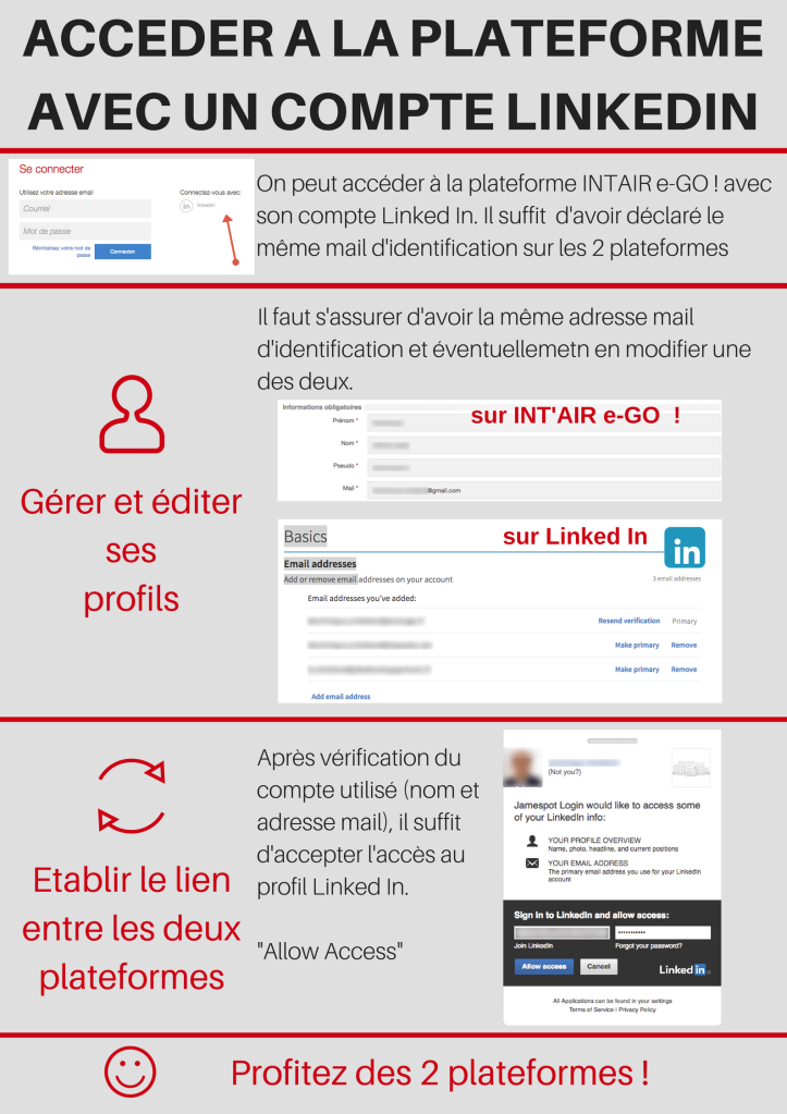 Accès plateforme INT'AIR e-GO ! avec Linked In