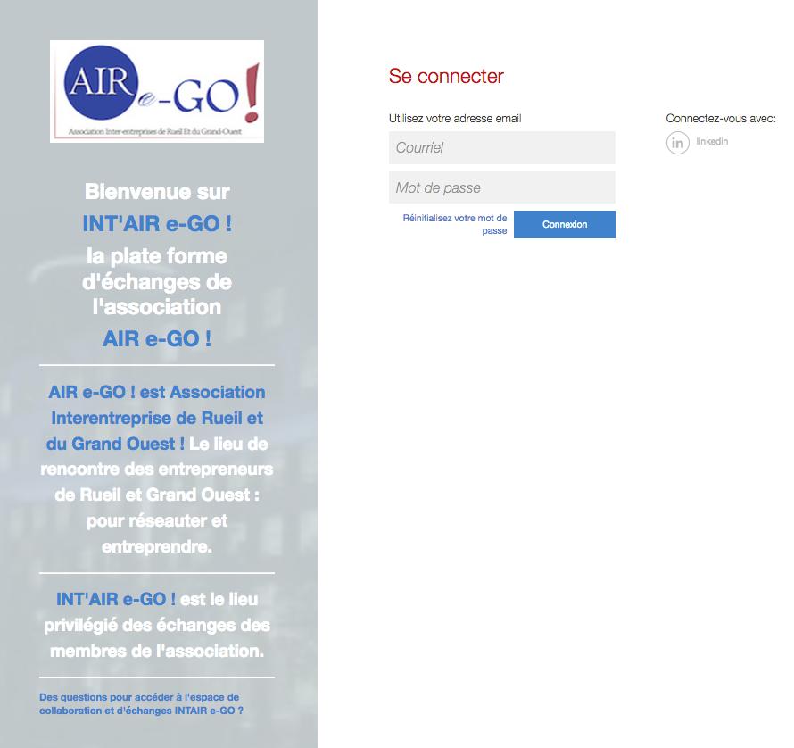 Page de login de la plateforme INT'AIRe-GO !